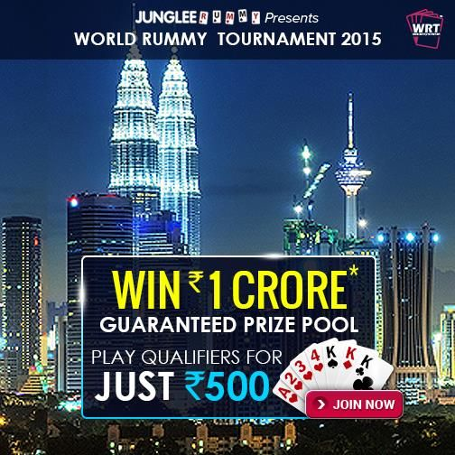 Last Chance to Win a seat worth Rs.1.4 Lakh for the WRT 2015 Finale. Qualifiers at just Rs.500 on 19 Jan 2015, 4 PM Book your seat now! #win1crore #wrt2015 #worldrummy #jungleerummy