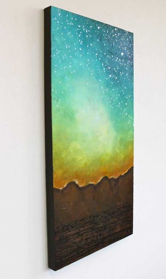 original modern sunrise painting landscape mountains Daybreak yellow turquoise brown