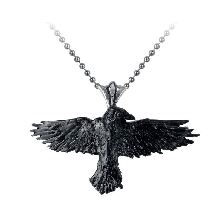 Beautiful raven pendant of Alchemy Gothic. Decorate your neck with the highly symbolic Black Raven, which will be your loyal companion. The Black Raven stands for wisdom and additionally shows you the right way. The pendant is made of nickel-free ...