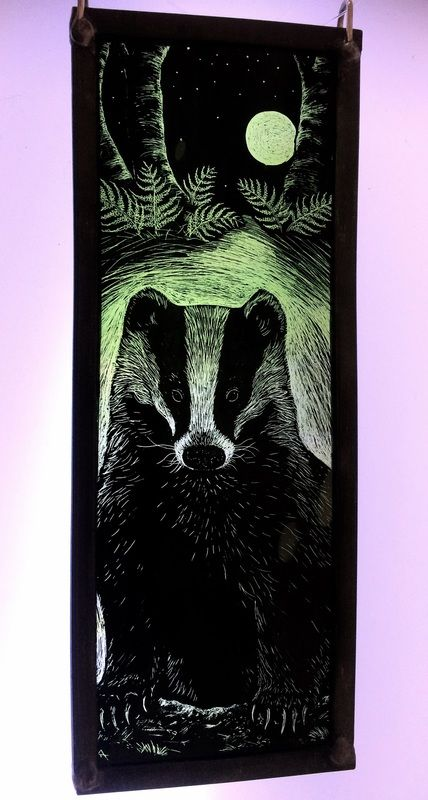 """Badger Full Moon Rising"" by stained glass artist Tamsin Abbott"