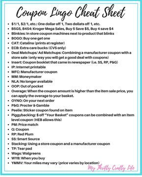 Coupon Lingo Cheat Sheet All About Coupons Pinterest Coupons