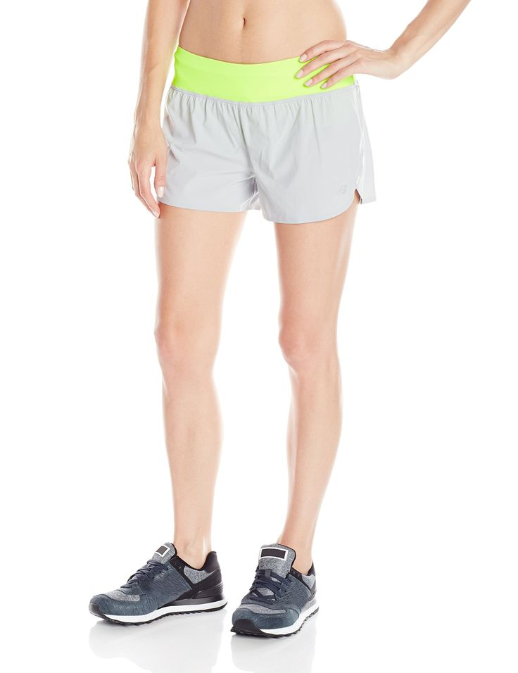"New Balance Women's Precision Run Hybrid 3"" Shorts, Silver Mink, Large. Lightweight Knit/woven fabric Mix. Zip pocket detail. 2.5 inch; Glow-in-the-dark trims."