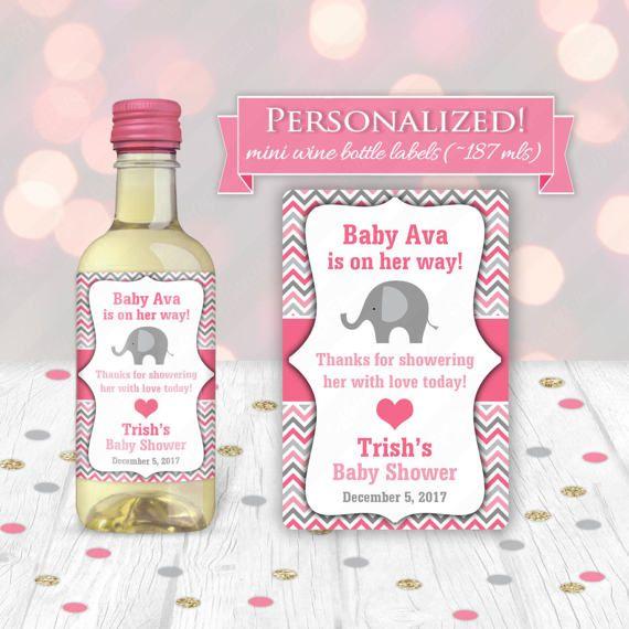 Elephant Baby Shower Mini Wine Bottle Label Hostess Gift Grandma