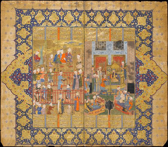 This double-page image captures the splendour of the Persian court. On the right, Lohrasp, who has just succeeded Key Khosrow, is enthroned among courtiers and entertained by musicians beside the pool, while an attendant offers him pomegranates and another one, behind the throne, holds his sword.