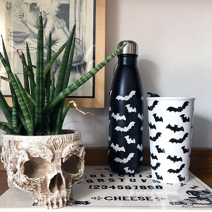 2020 Halloween At T.K. Maxx- 3 Witches And Happy Halloween With Two Pumpkins Year round Halloween bat mugs and bottles from TK Maxx & HomeSense