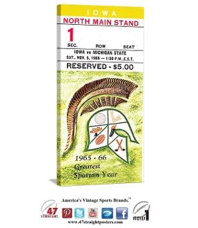 Football art. Michigan State Spartans football ticket art on canvas. 1966 Iowa Hawkeyes vs. Michigan State Spartans. Michigan State won the Big 10 title and were 1966 National Champions. The Spartans beat Iowa 56-7 in this contest, their biggest margin of victory on the season. #47straight #Spartans #MichiganState #collegefootball #tickets