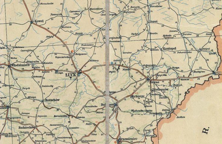 Fagment mapy samochodowej stanu dróg w Polsce na rok 1939-1940