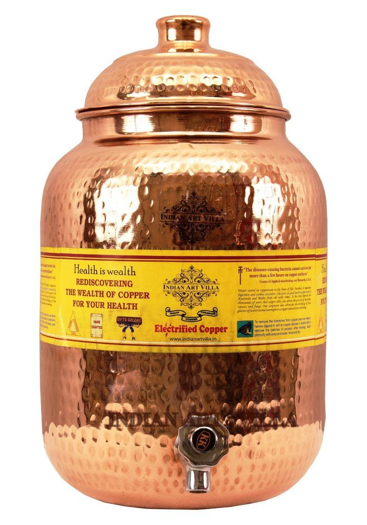Copper Hammered Joint Free Water Pot Matka 8.0 Ltr. - Stroage Water Home Hotel Restaurant Garden