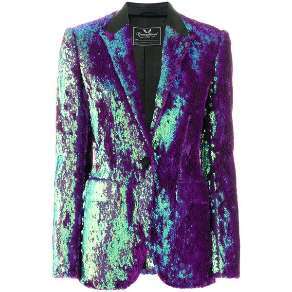 Unconditional sequinned blazer jacket (€890) ❤ liked on Polyvore featuring outerwear, jackets, blazer jacket, purple jacket, sequin blazer, peak lapel blazer and colorful blazers