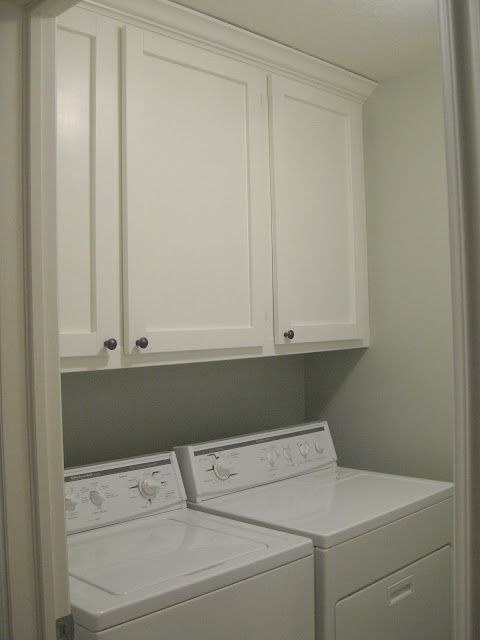 DIY laundry room cabinets. This is the exact layout of my laundry room. Would leave open shelves in the middle to break up the wall of cabinetry.