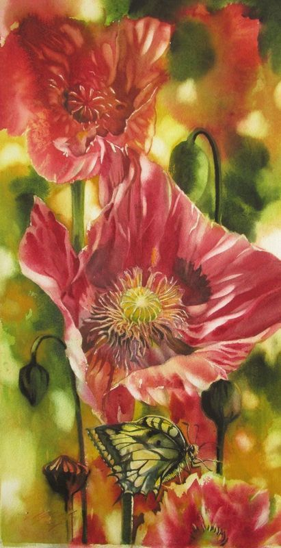 """""""red poppy with butterfly"""" by Alfred  Ng. Watercolour on Paper, Subject: Flowers and plants, Photorealistic style, One of a kind artwork, Signed on the front, This artwork is sold unframed, Size: 33.02 x 63.5 x 1.02 cm (unframed), 13 x 25 x 0.4 in (unframed), Materials: watercolor on arches watercolor paper"""
