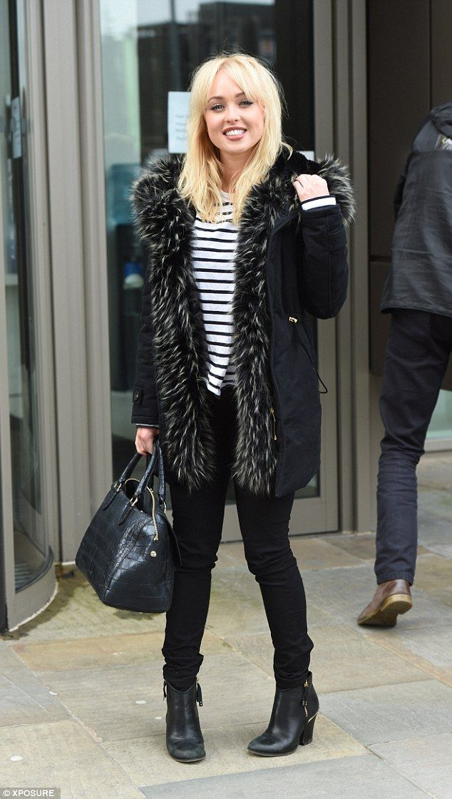 Confident:Jorgie Porter showed no signs of nerves as she showed up on set in Manchester for the first day of filming Are You Being Served? reboot on Thursday which will take the form of an one-off special
