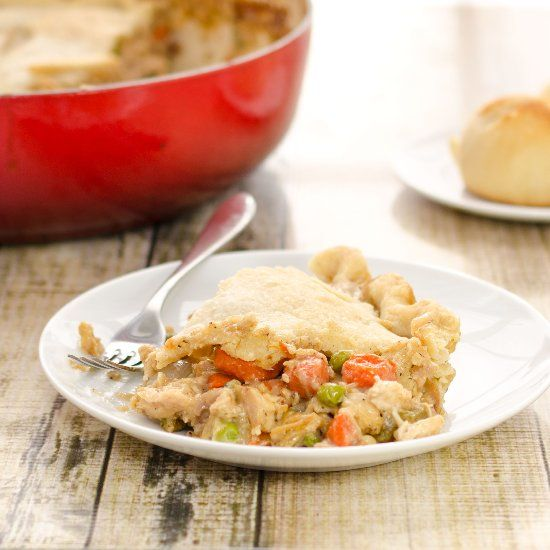 Skillet Chicken Pot Pie filled with roasted chicken, savory vegetables ...