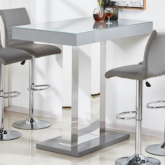 Caprice Modern Glass Bar Table Rectangular In Grey High Gloss With  Stainless Steel Supports, Perfect