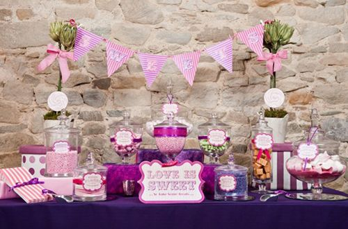 Pink and Purple Weddings. Love the candy bar!
