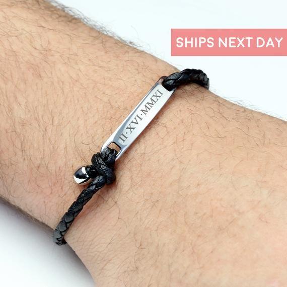 Personalized Bracelet For Men Custom Bracelet Engraved Gift Etsy Bracelets For Men Custom Leather Bracelets Engraved Bracelet
