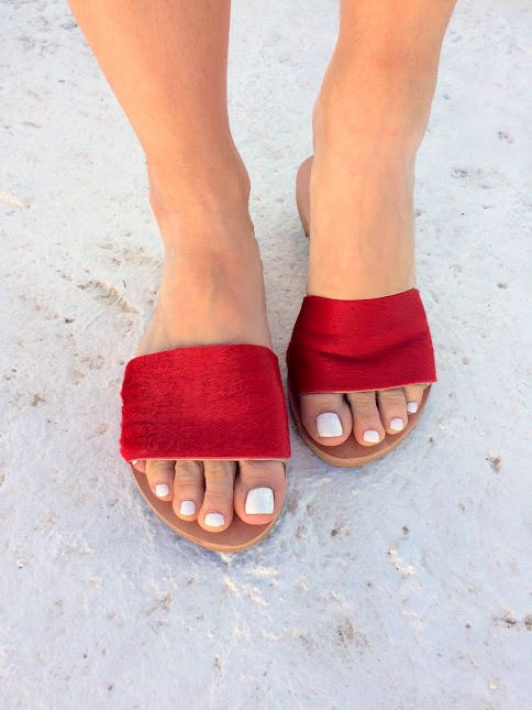 aelia greek sandals/leather sandals/ slippers/red sandals/red shoes / caw hair/new/ flip flop by aeliasandals on Etsy