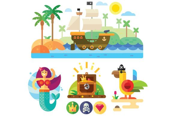 Pirate theme vector illustration set by TastyVector on @creativemarket