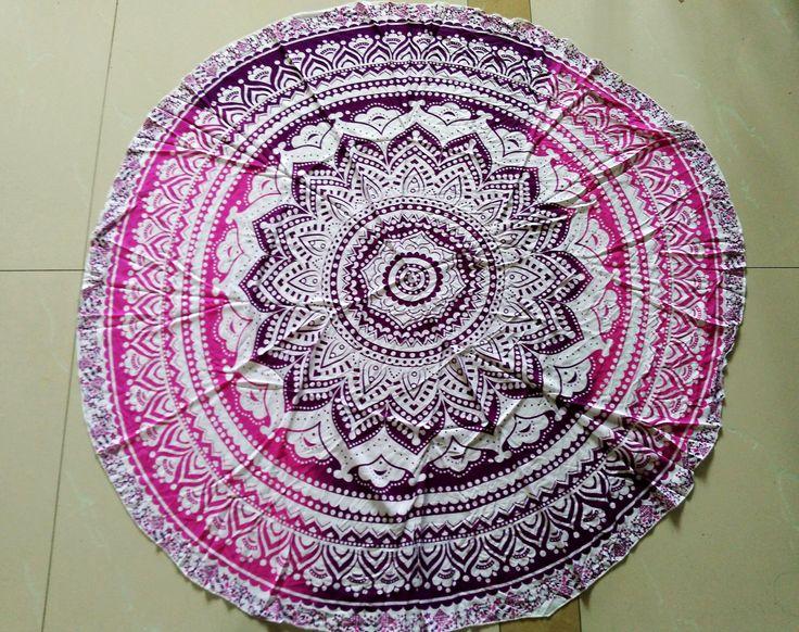 Rayon gedrukt kwastje grote ronde strandlaken kussen yogamat verpakt sjaal zee strand matten tapijt - wereldwijde Station Taobao
