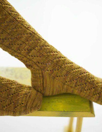 Diagonal Lace Socks: Free Knitting pattern
