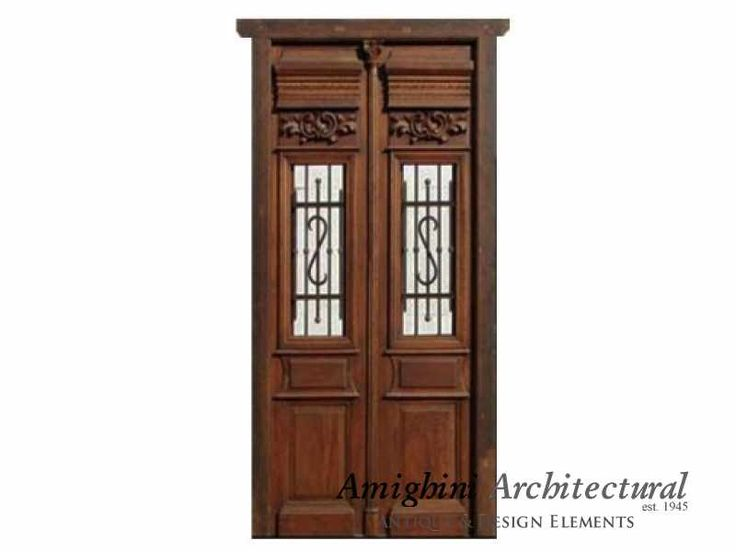 Exclusive and Antique double entry door pre-hung in amazing condition with hinged glass casements and incredible hand carved details. It comes with frame and original heavy duty hinges. This gorgeous piece is ready to go and you wont have any other f