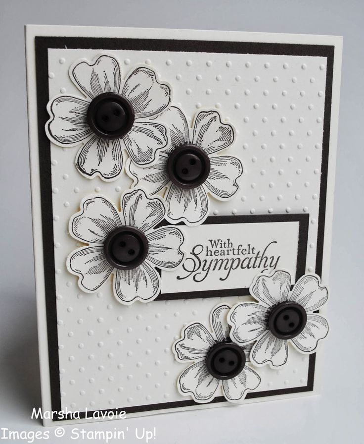 handmade sympathy card from Stamping with Marsha ... black, white & gray ... stamped and punched flowers wtih large button centers ... like the way the flowers are grouped ... Stampin' Up!