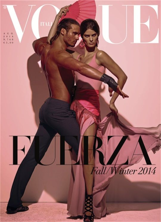 Isabeli Fontana & Timo Nuñez for Vogue Italia August 2014 by Steven Meisel