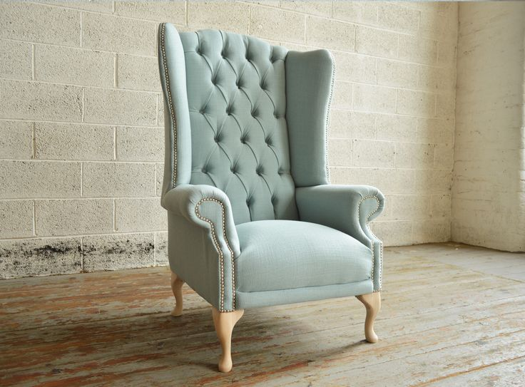 Bespoke Pistachio blue, deep buttoned high back Chesterfield Wing Chair   Abode Sofas