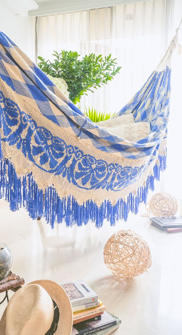 Meet the quintessential Hammock, made entirely by hand by amanzing crafters of the Wayuu Tribe, each piece takes up to three month on the making. Wayuu people sleep only on hammocks, this pieces decorate their houses and also are wealth statements displayed with pride.  Find one of a kind pieces in www.wayuuhammocks.com