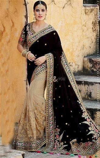 Alluring Black Silk Jacket Black And Beige Half And Half Sari    #HalfSarees #DesignerHalfSarees #HalfSareesDesigns #HalfSareesDesigns #EmbroideredSarees #EmbroideredSareesPatterns #DesignersAndYou #DesignerSarees #HeavyHalfSarees #TopHalfSarees #HalfSarees2017BestHalfSarees #BeautifulHalfSarees #HalfSareesDesign #HalfSareesPattern