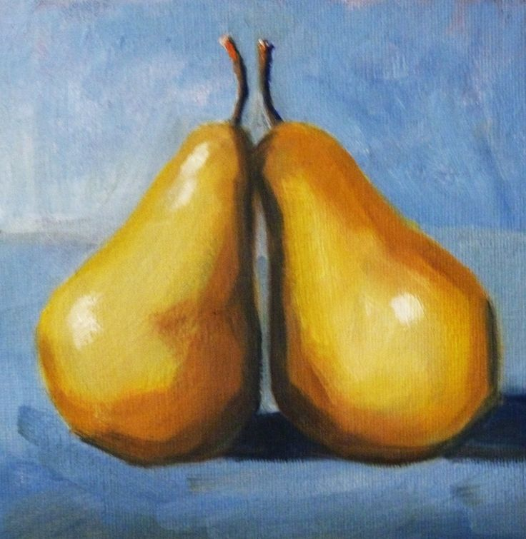 Perfect Fruit Still Life Oil Painting Original Pear Art Kitchen Wall Decor Small  Canvas Blue And Yellow Food Square Format Minimalist USD) By  Smallimpressions