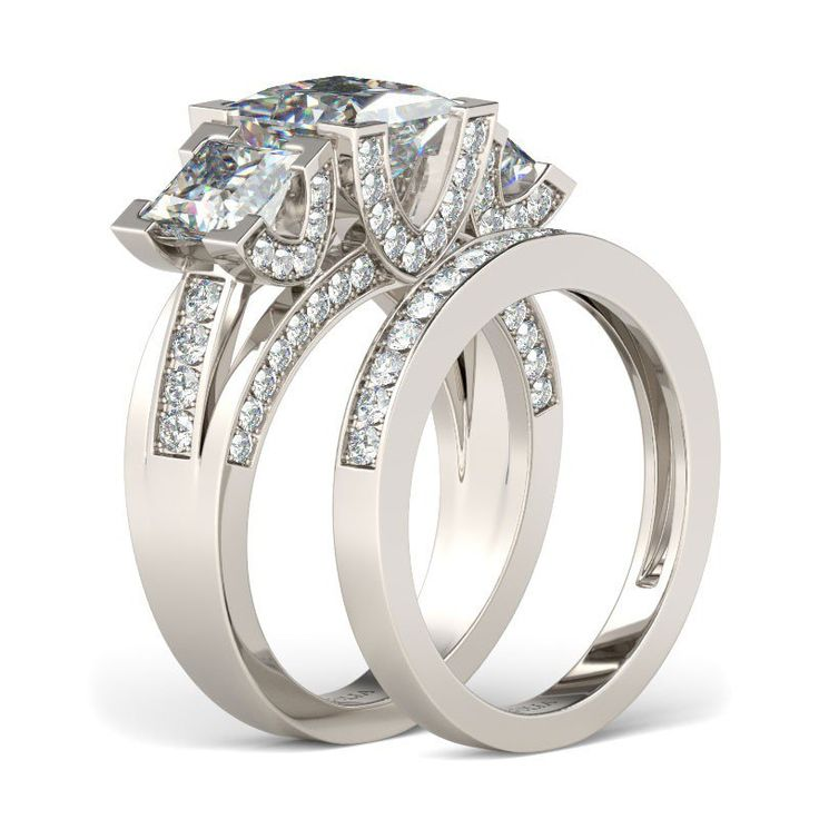 Three-stone Princess Cut 1.5CT Created White Sapphire Rhodium Plated 925 Sterling Silver Women's Wedding Ring Set/Engagement Ring