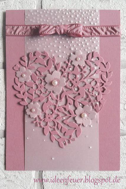 handmade love/Valentine from Ideenfeuer ... monochromtic Sugarplum ... lacy heart die cut ... embossing folder Falling Snow on vellum ... lovely!