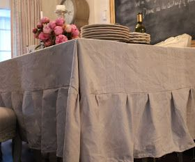 FRENCH COUNTRY COTTAGE: A SIMPLE TABLE - DIY Drop Cloth Tablecloth