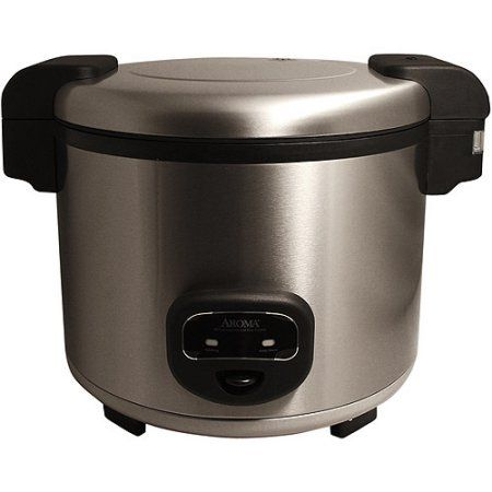 Aroma 60-Cup Cool Touch Commercial Rice Cooker, Stainless Steel, Silver