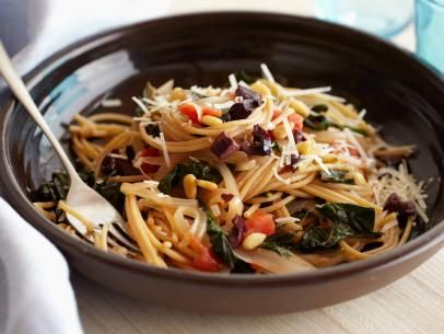 Giada's Whole-Wheat Spaghetti with Swiss Chard and Pecorino Cheese #Grains #Veggies #MyPlate
