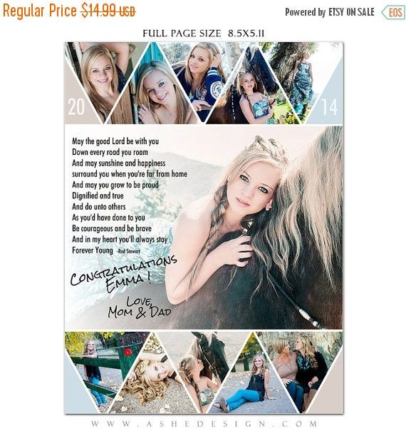 Help your student stand out from the rest in their senior yearbook!  ***YOU MUST HAVE PHOTOSHOP ON YOUR COMPUTER TO USE THESE FILES***  Yearbook ads are an amazing up sell for seniors or the perfect add-on just for booking their session with you! Either way, parents will love these fun and professionally designed tributes to their teens.  GREAT TIP>> If parents arent up for taking out a Yearbook Ad, offer them the flat files to post a personal tribute to their teen on Facebook!   INSTAN...