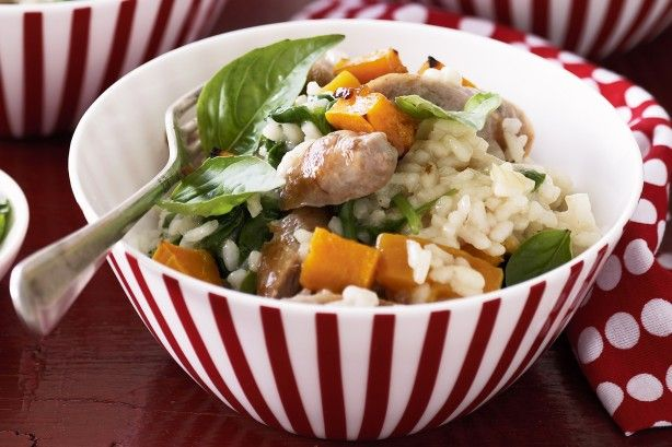 Sausage and maple glazed pumpkin risotto