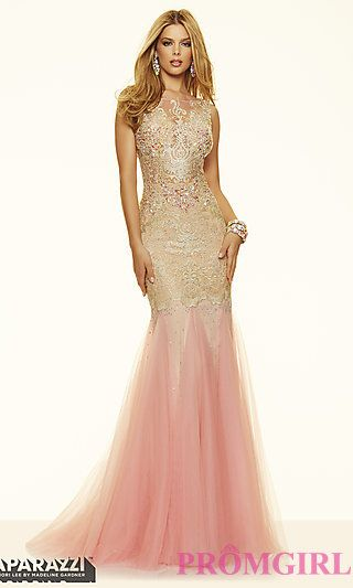 Mori Lee Lace Illusion Neckline Prom Dress at PromGirl.com