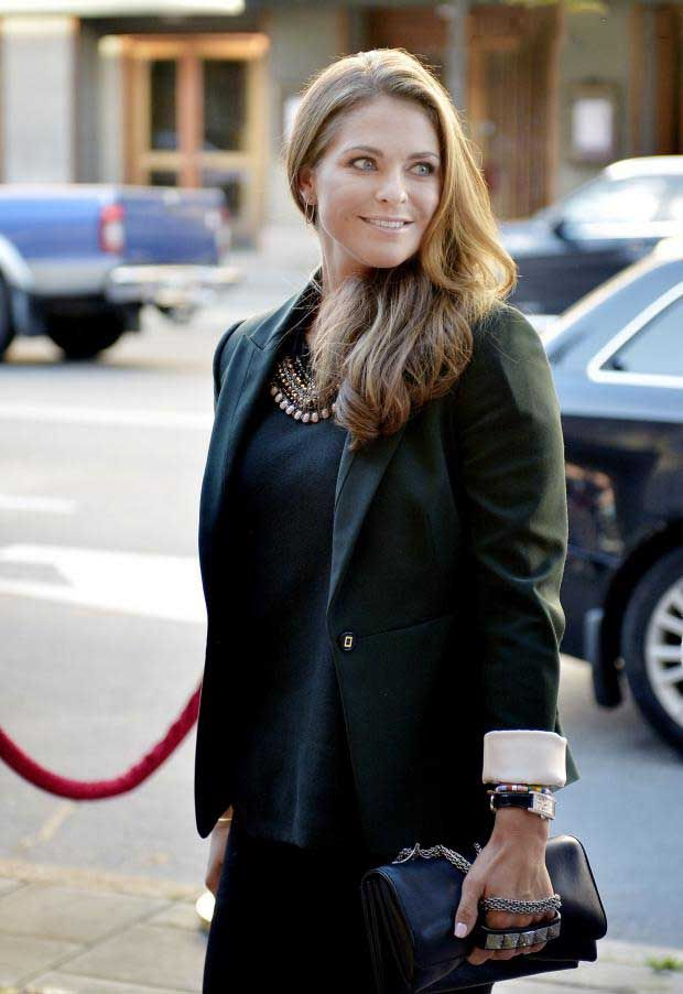 Princess Madeleine of Sweden, two days after the announcement of her pregnancy, at the launch of the campaign by the World Childhood Foudnation Childhood in Stockholm on 5 Sep 2013