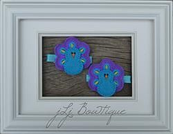 Turquoise & Purple Peacock Hair Clips -$5.00 for pair available on jLj Bowtique