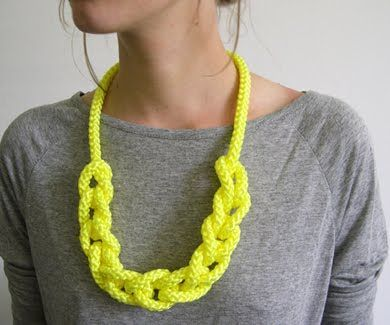 Repurpose a rope into a statement necklace.  Extra points for a color that pops!