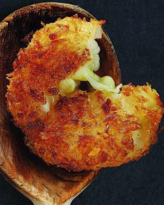 Crispy Mozzarella Risotto Cakes   This is  a terrific use for leftover risotto.  I used blue cheese instead of Mozzarella...Wow