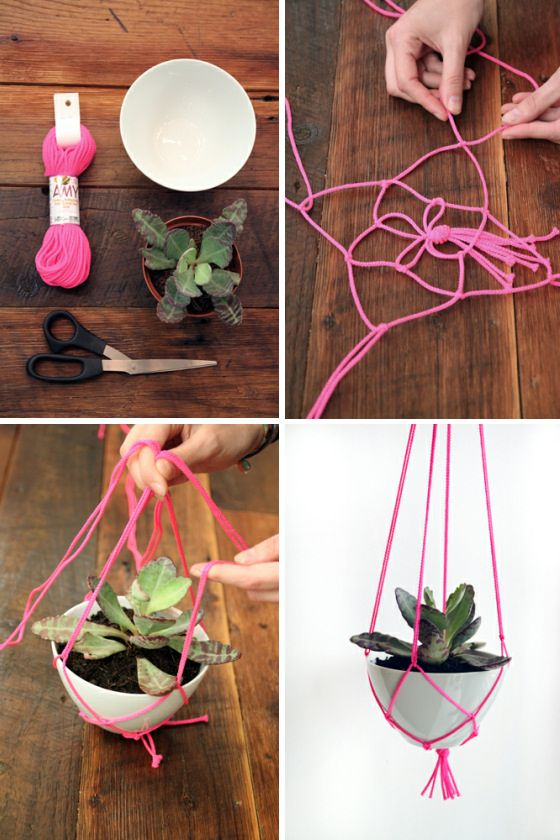Knot a hanging plant holder. Except not with pink, with twine or something!