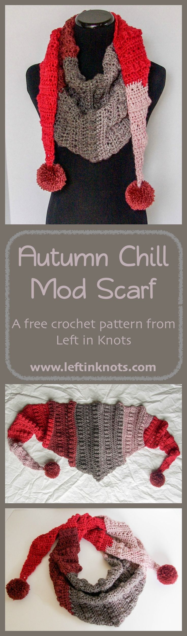 A free and modern triangle scarf crochet pattern.  Part of the Autumn Chill crochet series from Left in Knots. Made with Caron Cakes yarn or any other worsted weight yarn of your choice.  Customize the pattern with pom poms or tassels!