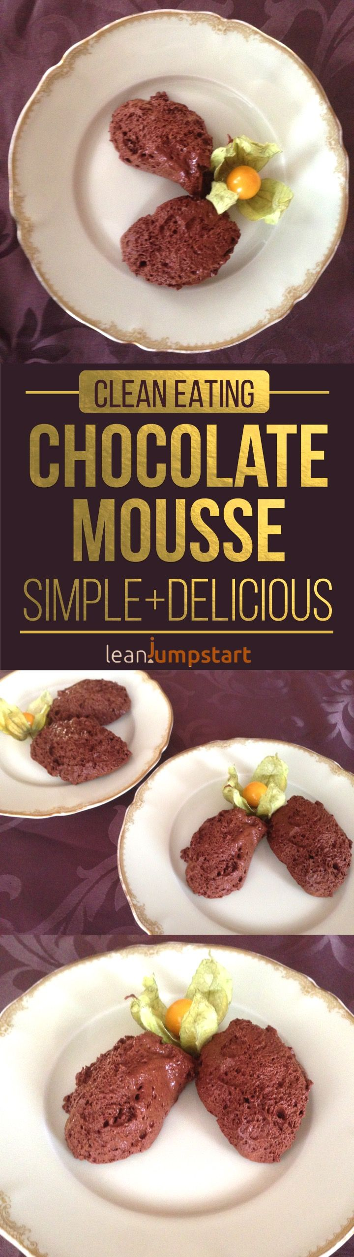 easy chocolate mousse recipe with just 2 ingredients - addictive, clean and lean #chocolatemousse #eatclean #aquafaba via @leanjumpstart