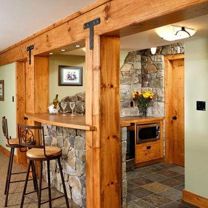 49 best rustic basement images on pinterest basement for Man cave kitchen ideas