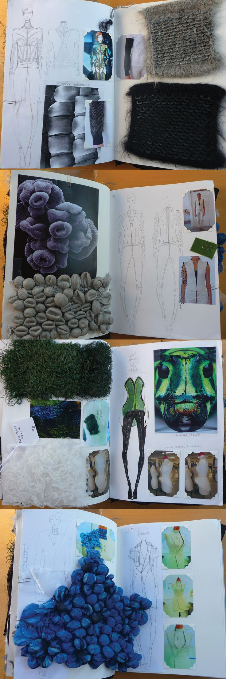 Daniel Lee, Central Saint Martins College of Art & Design: fashion design sketchbook - layout, drawings, fabric sampling