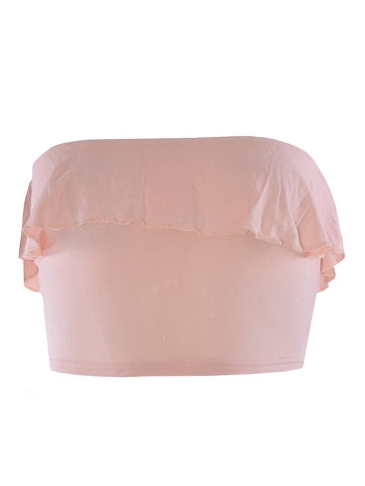 Ladies Frill Bandeau Boobtube Crop Top Nude XS-ML