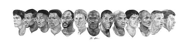 Watercolor of the 1992 Olympic Dream Team.  Christian Laettner, David Robinson, Scottie Pippen, Patrick Ewing, Karl Malone, Larry Bird, Michael Jordan, Magic Johnson, Charles Barkley, John Stockton, Clyde Drexler, Chris Mullen, and Coach Chuck Daly
